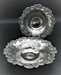 Pair Stunning Victorian Floral Embossed Chased Fruit Bread Bowls Silver Plated