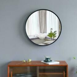 Round Wall Mirror Black Metal Frame Mirrors Wall Mount for Home Bathroom Decor