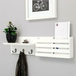 Wall Mount Wooden Mail And Key Holder Organizer Mail Sorter With 3 Key Hooks