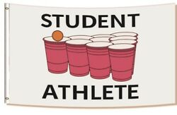 Student Athlete 3x5Ft Funny Flags amp; Banners 4 College Dorm Room Frat Man Cave US