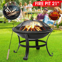 Round Shaped Patio Fire Pit Outdoor Home Garden Backyard Firepit Bowl Fireplace