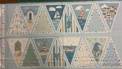 1977 Beachcomber Sea Side Bunting 100 Cotton Quilting Panel Fabric