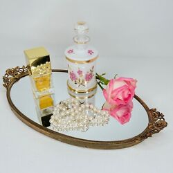 Vintage Perfume Bottle Vanity White Cased Glass Hand Painted Floral Gold Germany