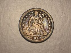 1849 O Seated Liberty Dime Abt. Vf, Small O, And Attractive