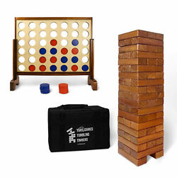 Yardgames Giant Tumbling Timbers Stacking And Giant 4 In A Row Outdoor Game Bundle