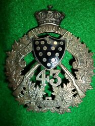 Canadian 43rd Duke Of Cornwalls Own Rifles 1907 Officer's Pouch Belt Plate Badge