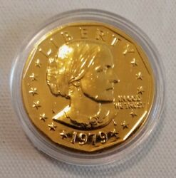 1979 24k Gold Plated Susan B. Anthony Dollar. Brilliant Uncirculated. 1276