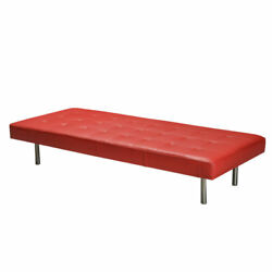 Upholstery Daybed In Buttoned Red Leather With Steel Legs