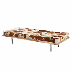 Hairon Leather Daybed With Wooden Frame And Steel Legs