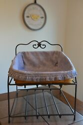 Longaberger Wrought Iron Paper Tray Stand W/ Basket And Liner Combo