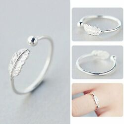 925 Silver Plated Simple Leaves Rings Open Finger Ring Women Jewelry Adjustable