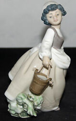 Lladro Figurine Nao Girl Carrying Water Buckets As Is 6 Ap 00071