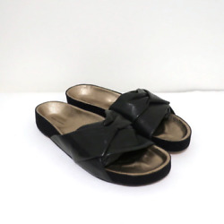 Isabel Marant Boop Slide Sandals Black Twisted Leather And Suede Size 39