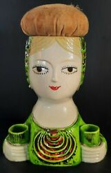 Vintage Chalkware Figurine Pin Cushion Japan Hand Painted Bust Pretty Lady Green
