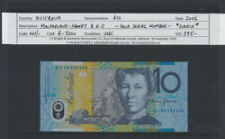Aust2006 10 Macfarlane/henry Qeii R-320c Unc -solid Serial Number 3and039s - Scarce