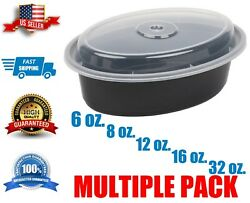 Container With Lid | Multiple Sizes | Black Oval Microwavable | Free Shipping |