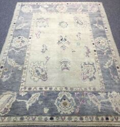 Turkish Oushak Village Rug Hand Knotted With Traditional Design