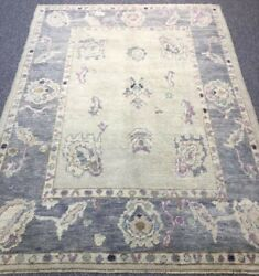 Turkish Oushak Village Rug, Hand Knotted With Traditional Design