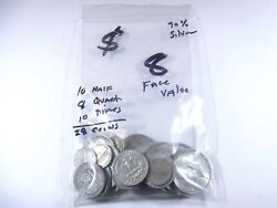Mixed Lot Of 90 Silver - 8 Face - Quarters Dimes And Half Dollars. Qc-34
