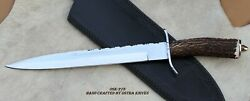 Ostra Custom D-2 Tool Steel High Polish Hunting Bowie Knife And Stag Antler Handle