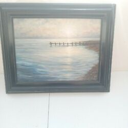 Stahl Scene Painting On Canvas Framed Dock Fishing Pier Sun Set Rise Ocean Lake