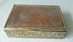 Antique French Copper Brass Silver Plated Jewellery Box - Les Cerisses -girardet