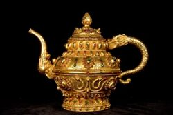Chinese Rare Qing Dynasty Old Copper Handmade Build Gilded Dragon Teapot A