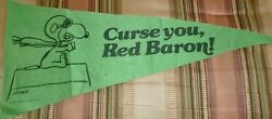 Curse You, Red Baron Vintage, 1965 Snoopy Pennant, Banner