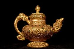 Chinese Rare Qing Dynasty Old Copper Handmade Build Gilded Dragon Teapot