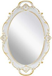 Decorative Wall Mirror for Bedroom Living Room Dresser Decor Oval White