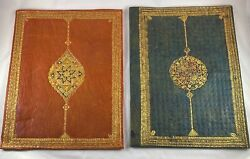 Leather Book Covers Antique Vintage Prayer Book Pair Set Large Softcover Menu