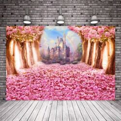Castle Backdrop Flowers Tree Girls Birthday Party Photography Background Banner
