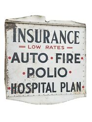 Antique Advertising Oddity Polio Fire Auto Hospital Insurance Wood 2 Sided Sign
