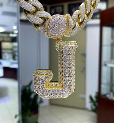 3.88 Ct Round Sim Diamond Men's Classic Initial J Letter And 8mm X 20 Cuban Chain