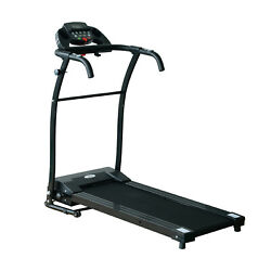 New Black Electric Motorized Treadmill W/lcd Display Home Exercise