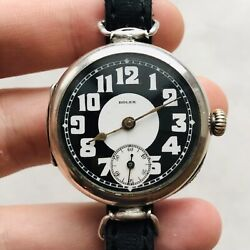 Rare Rolex Wwi Trench Military Watch Two-tone Silver 875 Swiss Vtg 10and039s Antique