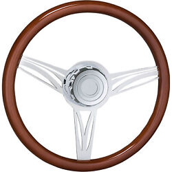 18in Steering Wheel W/boss Kit And Horn Button Fits International Wood Finish
