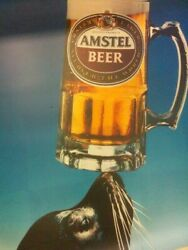 One Of A Kind Sealion With Amstel Beer Huge Plastic Sheet Advertisement 50 X 61
