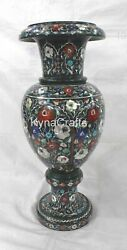 21 Inches Marble Flower Vase With Multi Color Gemstone Inlaid Planter For Home