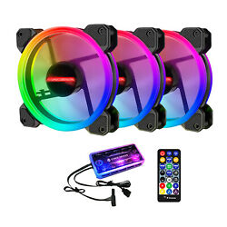 12cm Led Adjust Rgb Pc Case Cooling Fan With Controller Remote Accessories