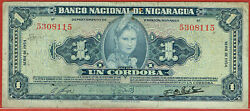National Bank Of Nicaragua 1954 1 Cordoba P99a And 4 Others Sold As A Lot