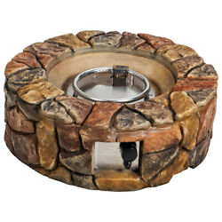 Topbuy 40000 Btu Gas Fire Pit Table Electronic Propane Ignition Lava Rock Brown