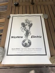 Vintage Western Electric 300 B Tube Poster Very Rare Large 34 1/4 X 24 1/4