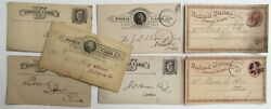 1870s-90s Lot Of 7 Ohio Banks Antique Statement Cards Postcards