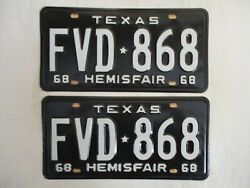 Pair 1968 Texas License Plate Tag Nos Mint Ends In 68 And Clear To Register