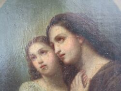 18th 19th Century Virgin Mary And Child Oil On Canvas Small Painting Devotional