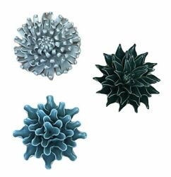 """Vivaterra 6"""" Ceramic Wall Flowers Handcrafted Set Of 3 Teal Turquoise amp; Gray NEW"""