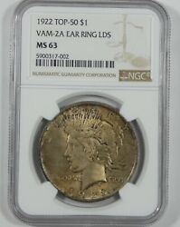 1922 Silver Peace Dollar Certified Ngc Ms 63 Top-50 Vam-2a Ear Ring Lds