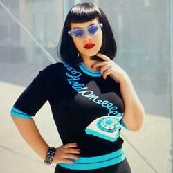 Kissing Charlie And039hold Onand039 Sweater In Black And Blue Nwt Retro Pinup Rotary Phone