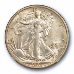 1917 D 50c Obverse Walking Liberty Half Dollar Ngc Au 58 About Uncirculated T...